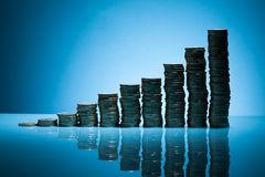Stack Of One Euro Coins Stock Photography