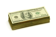 Stack of one hundred dollar bills Royalty Free Stock Photos