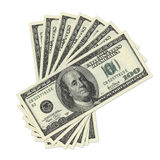 Stack of one hundred dollar bills stock photo