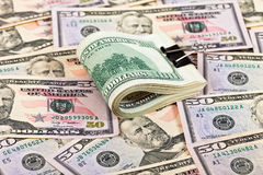 Stack of one hundred dollar bills Royalty Free Stock Images