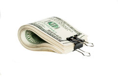Stack of one hundred dollar bills with a clip Stock Image