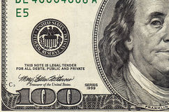 Stack of one hundred dollar. Bills close-up Royalty Free Stock Photography