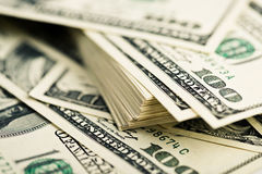 Stack of one hundred dollar bills close-up. Royalty Free Stock Images