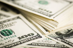 Stack of one hundred dollar bills close-up Stock Photos