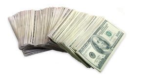 Stack of One Hundred Dollar Bills Fanned Out Stock Photos