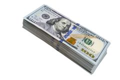 Stack of one hundred dollar bills isolated on white background. Stack of cash money in hundred dollar banknotes. Heap of hundred d. Ollar bills background royalty free stock images
