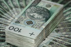 Stack of one hundred zloty Royalty Free Stock Images