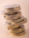 Stack of one pound coins Royalty Free Stock Photos
