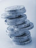 Stack of One Pound Coins Royalty Free Stock Photography