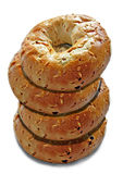 Stack of onion bagels. Photo of stack of delicious onion bagels freshly cooked and ready to eat Stock Photography