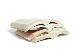 Stack of Open Books. On White Background Stock Photography