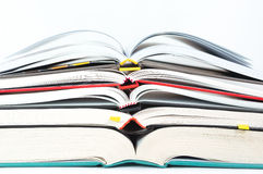 Stack of open books. With colorful book covers Stock Photography