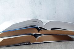 A stack of open books. Three open big books symbolizing education and study royalty free stock photography