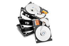Stack of open harddrives. Isolated on the white background Royalty Free Stock Photos