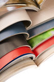 Stack of open magazines. Print, paper, press, publication Stock Photos
