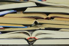 Stack of opened books. Stack of old and new opened books. Education, library, reading, learning concept royalty free stock photography