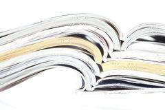 Stack of opened magazines Stock Photos