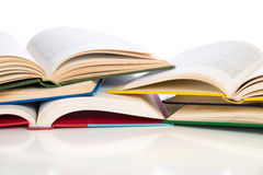 Stack of opened textbooks Royalty Free Stock Photography