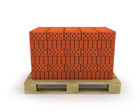 Stack of orange bricks on pallet Stock Images