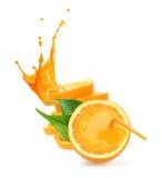 Stack of orange fruit slices with juice splash. Royalty Free Stock Images