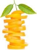 Stack of orange fruit slices Stock Photo