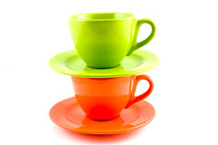 Stack of orange and green coffee cup Royalty Free Stock Photography