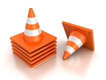 Stack of orange road traffic cones on white. Background Stock Images