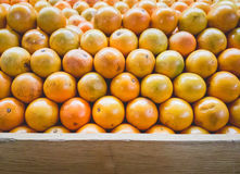 Stack of Oranges on Fruit Shelf Stand with Wood for Copy Space a. T bottom royalty free stock photo