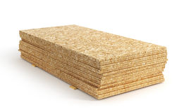Stack of oriented strand board. Isolated on a white background. 3d illustration Royalty Free Stock Photos