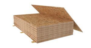 Stack OSB boards. Isolated on white background. royalty free stock photography