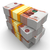 Stack of packs of 5,000 Russian rubles banknotes Stock Image