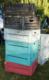 Stack of painted wooden boxes Royalty Free Stock Photos