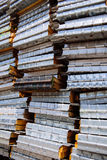 Stack of pallets frame on a construction site.  Stock Photo
