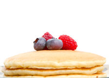Stack of pancakes. With fresh berries on top Stock Photos