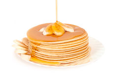 Stack pancakes. With maple syrup Royalty Free Stock Photography