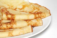 Stack of pancakes. On the plate stock photo