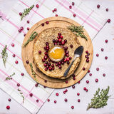 Stack of pancakes with berries and honey and Herbal tea wooden rustic background top view Stock Images