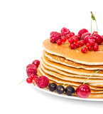 Stack of pancakes with berries Royalty Free Stock Photo