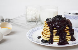 Stack of pancakes with blended berries on white background Royalty Free Stock Photo