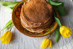A stack of pancakes on the Board royalty free stock image