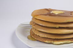 Stack of Pancakes with Butter and Honey Royalty Free Stock Photo