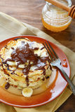 Stack of pancakes with chocolate Royalty Free Stock Images