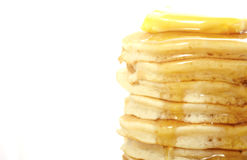 Stack of pancakes closeup, with copy space. Royalty Free Stock Image
