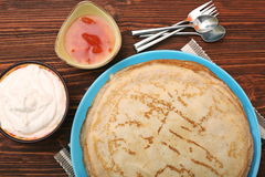 Stack of pancakes or crepe Royalty Free Stock Images