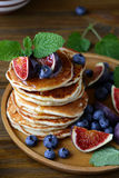 Stack pancakes with figs. Food Stock Photography