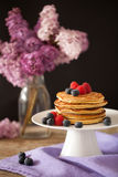 Stack of pancakes with fresh berries Royalty Free Stock Images