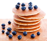 Stack of pancakes with fresh blueberries Royalty Free Stock Photos