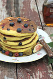 Stack of pancakes with fresh blueberry and raspberry Stock Photography