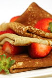 Stack of pancakes with fresh strawberries Royalty Free Stock Photography