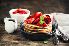 Stack of pancakes with fresh strawberry and balsamic glase Stock Photo